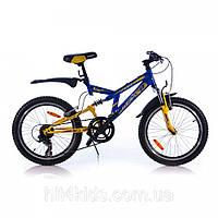 """Двухколесный велосипед Azimut 20"""" DINAMIC желто-синий"""