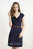 Летнее женское платье с коротким рукавом и пояском темно-синего цвета. Модель 325 Mirabelle