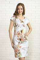 Летнее платье с цветочным рисунком, короткий рукав. Модель 330 Mirabelle