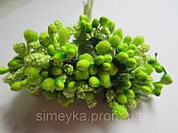 """Цветочная композиция: """"шишечки"""" салатовые с зелёными листиками, букетик из 11 соцветий, длина 12 см"""