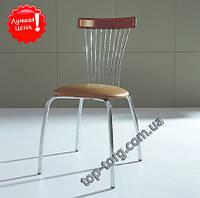 АКЦИЯ Стул С3285 металлический, сатин, мягкое сиденье, коричневый кожзам (экокожа), в кухню,  купить