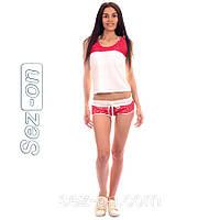 Костюм женский летний вискоза с гипюром. Футболка+шорты