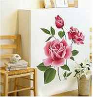 "Наклейка на стену, наклейка цветок, наклейки на шкаф ""Ветка Розы"", наклейки на окна на прозрачной основе"