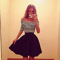 Платье летнее в полоску короткое с пышной юбкой и поясом