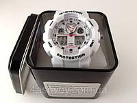 Часы мужские G-Shock - белые в металлическом тубусе, красная стрелка, водозащита 3Bar