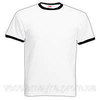 Мужская футболка Fruit of the loom (Ringer T). Белая с черной окантовкой.