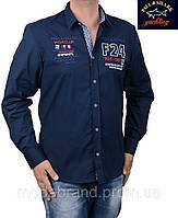 Приталенная мужская рубашка Paul Shark-1499 темносиняя