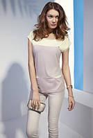 Летняя женская блуза из вискозы с коротким рукавом и кармашками. Модель N32 Sunwear