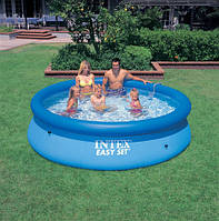 Круглый надувной бассейн intex 28110 (56970), пвх, полиэстер, бассейн easy set pool, 244 х 76 см