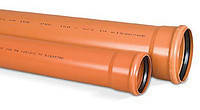 Труба ПВХ SN4 МПласт раструбная трехслойная с уплотнительным кольцом для наружной канализации 110х3,2х3000