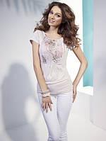 Женская летняя блуза со стильным принтом, свободного кроя и коротким рукавом. Модель N39 Sunwear