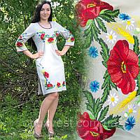 Женское льняное платье с вышивкой