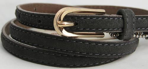 Замшевый ремень-поясок женский кожаный. Арт: 2034  серый ДхШ: 100х1 см.