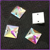 Стразы пришивные Квадрат 16 мм Crystal AB, стекло