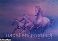 Картина «Лиловые лошади» . Живопись маслом.