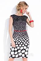 Платье летнее Miguela Zaps черно-белое с принтом яблоки и красным поясом в комплекте.