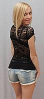 Футболка женская с гипюром черная, фото 1
