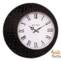 Классические кожаные настенные часы (чёрные)