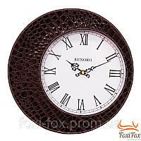 Классические кожаные настенные часы (коричневые)