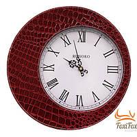 Классические кожаные настенные часы (красные)