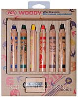 """Набор восковых карандашей """"WOODY""""; 6 цветов; + точилка"""
