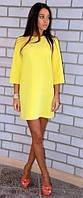 Платье мини желтое с широким рукавом 3/4 из мягкого натурального  штапеля