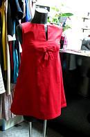 Платье трапеция с бантиком Валентино красного цвета из натурального стретч коттона