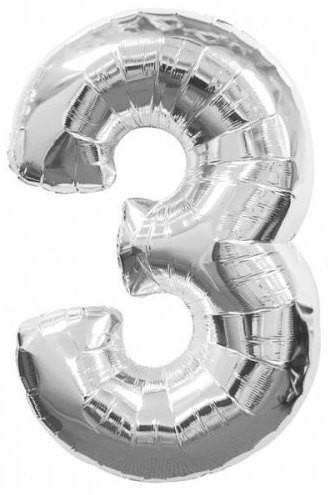 """Воздушные фольгированные шарики оптом. Шар цифра серебрянный """"3"""""""