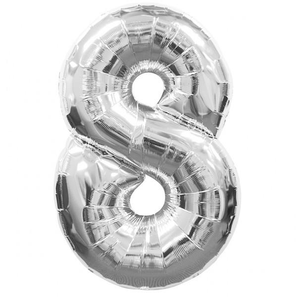 "Воздушные шарики оптом. Шар цифра серебро ""8"""