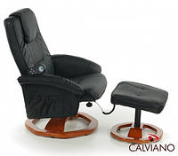Кресло массаж + пуф массаж TV Calviano (черное) круг
