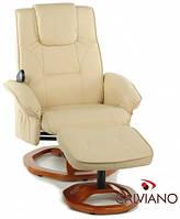 Кресло массаж + пуф массаж TV Calviano (бежевое) круг