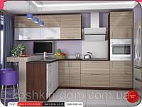 "Кухня модульная, угловая ""MoDa лайт/зебрано"" 3400*1600 мм"