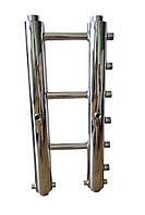 Распределительный коллектор из нержавейки на 3 пары выходов.