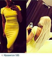 Платье желтое в обтяжку с открытой спиной,  с рукавом, до колена