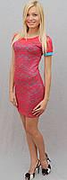Платье женское с гипюром коралл, фото 1
