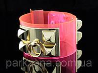 Женский браслет Hermes прозрачный розовый