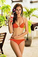 Стильный купальник  с ажурной сеткой цвет сиреневый, оранжевый ,чёрный