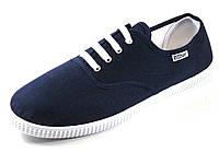 Мужские кеды темно синие текстиль шнурок, фото 1