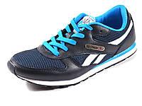 Кроссовки мужские синие летние Reebok сетка текстиль спортивные шнурок, фото 1