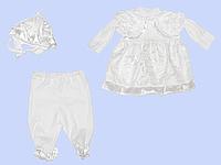 Крестильный комплект: платье, штанишки и шапочка; тонкий хлопок, ТМ Ромашка, р. 62