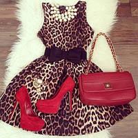 Платье леопардовое с бантом