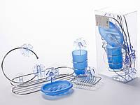 Набор аксессуаров для ванной - 5 предмета: мыльница 2 шт., стакан, полочка, вешалка для полотенца