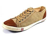 Кеды бежевые мужские джинсовые шнурок, фото 1