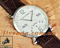Мужские наручные часы BvLgari Quartz Calendar Silver White Булгари кварцевые с календарем