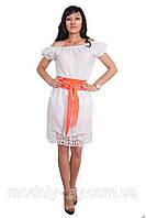 Белое красивое платье с поясом