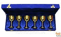 Бокалы в подарочном футляре позолоченые ( бронзовые ) 6 шт