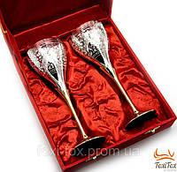 Бокалы с посеребрением для шампанского ( бронза ) в подарочном кейсе
