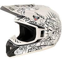 Кроссовый шлем белый с черным винилом Nitro CALAVERA White/Black