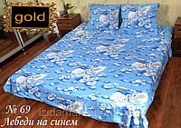 Лебеди на синем - Постельное белье бязь голд полуторное