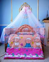 Балдахин фатин с бантом в детскую кроватку или манеж